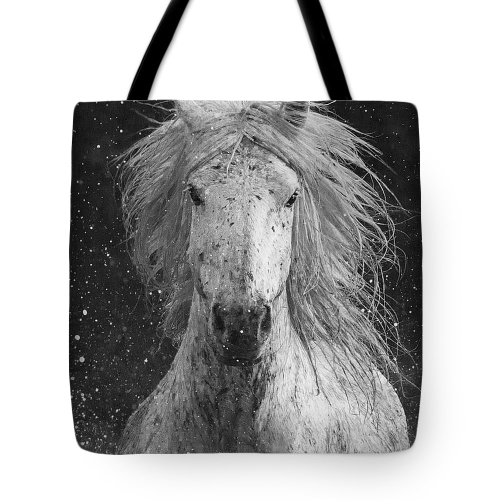 Horse Tote Bag featuring the photograph Splash by Carol Walker