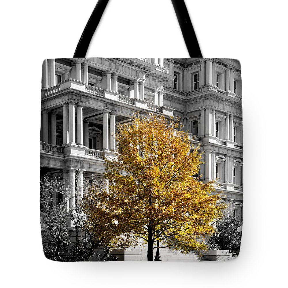 Arlington Cemetery Tote Bag featuring the photograph Splash Of Gold by Greg Fortier