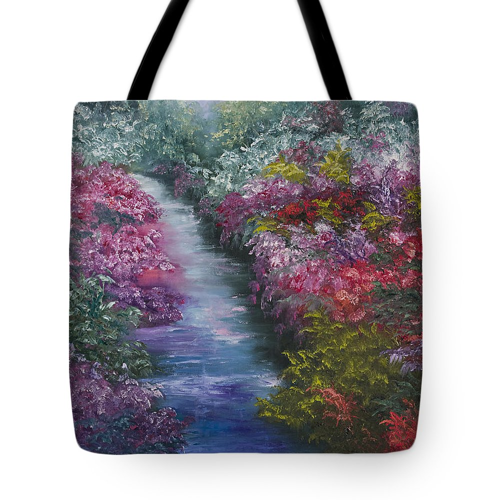 Landscape Tote Bag featuring the painting Splash Of Spring by Darice Machel McGuire