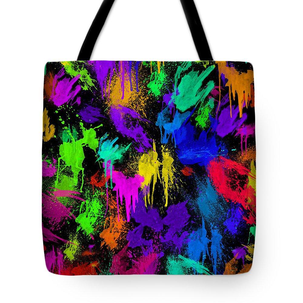Digital Tote Bag featuring the digital art Splattered One by Rhonda Barrett