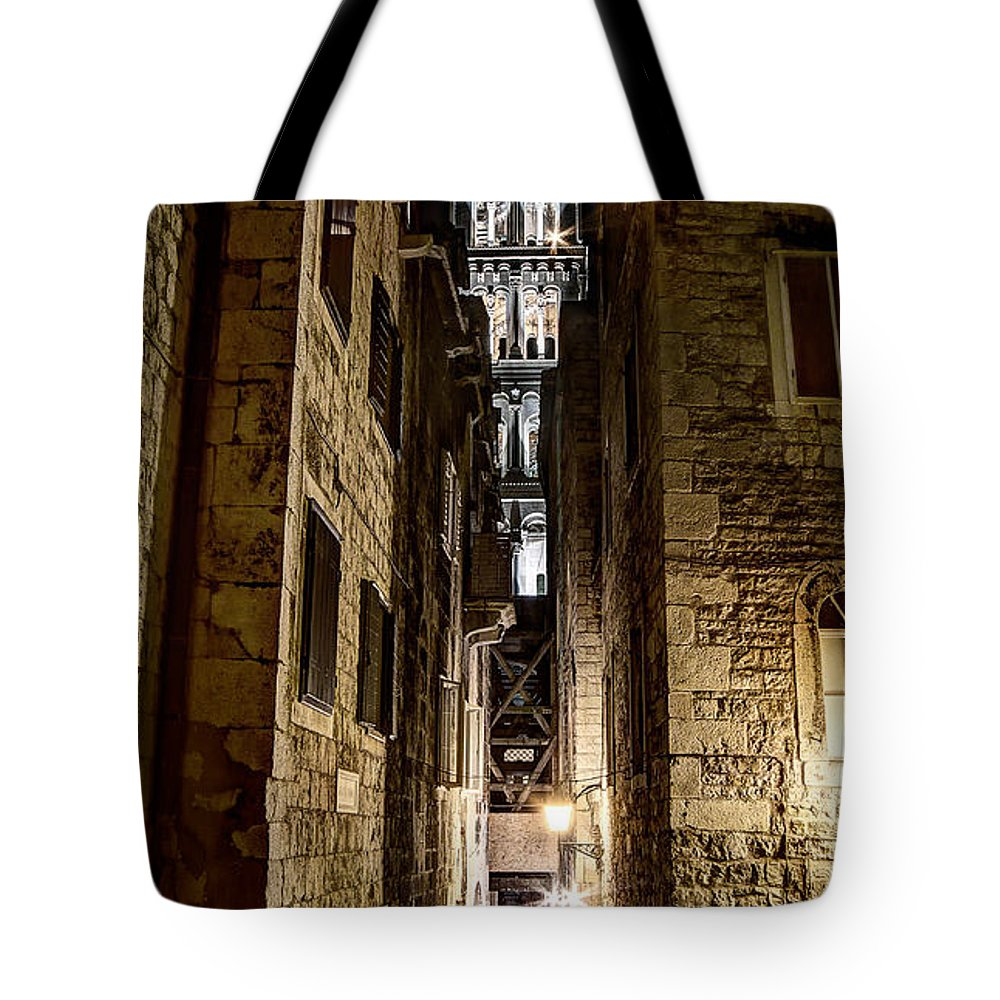 Split Tote Bag featuring the photograph Split Cathedral From The Temple Of Jupiter At Night Croatia by Weston Westmoreland
