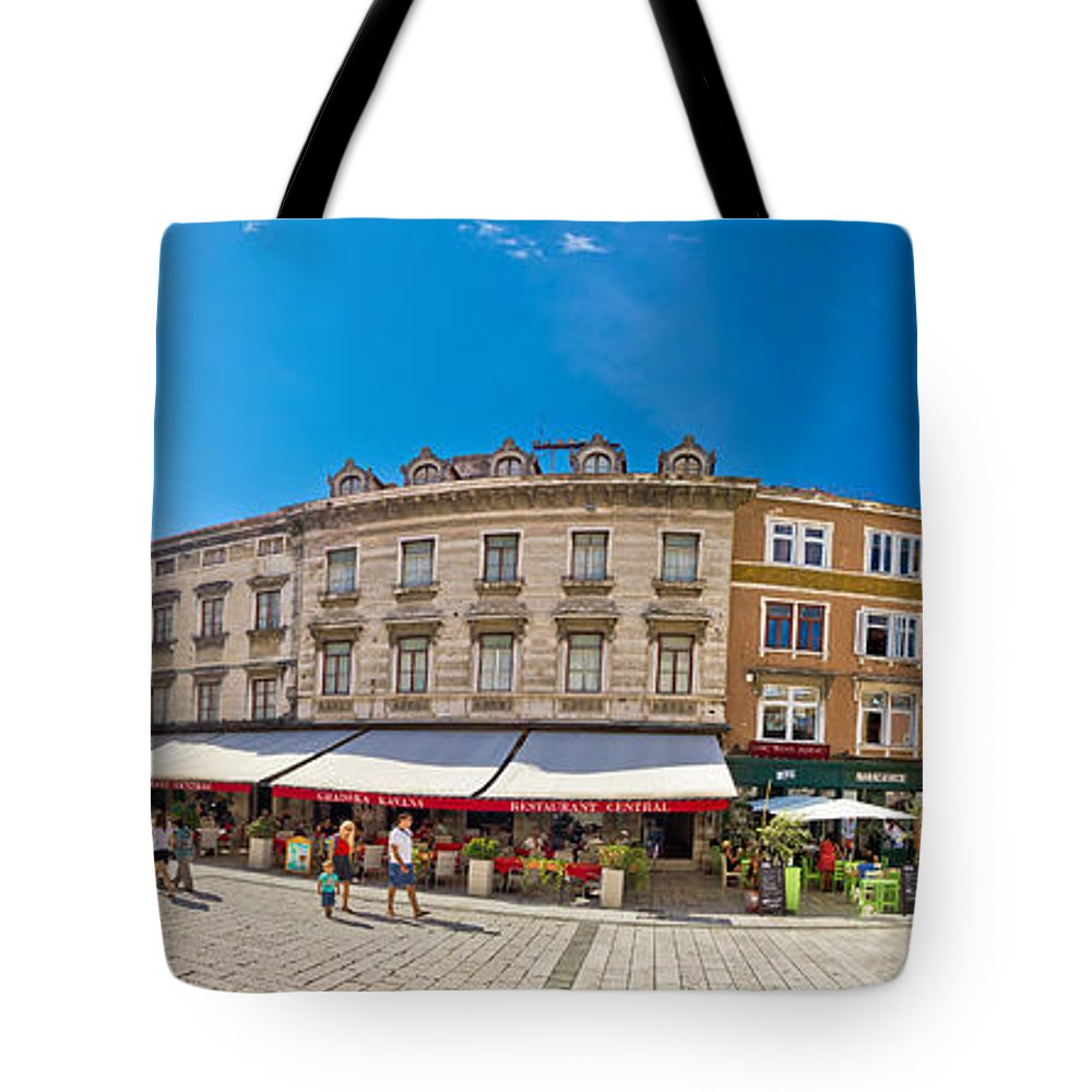 Split Tote Bag featuring the photograph Split Historic Square Panoramic View by Brch Photography