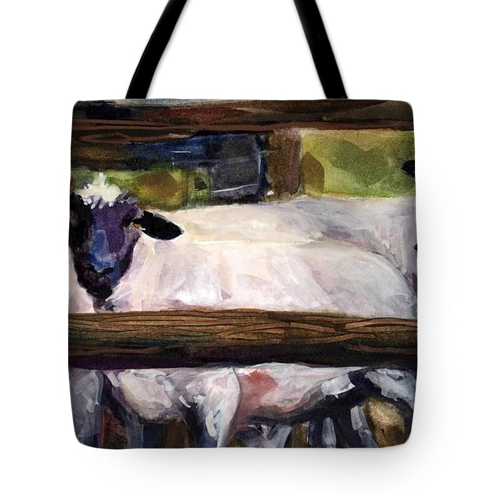Sheep Tote Bag featuring the painting Split Rail by Molly Poole
