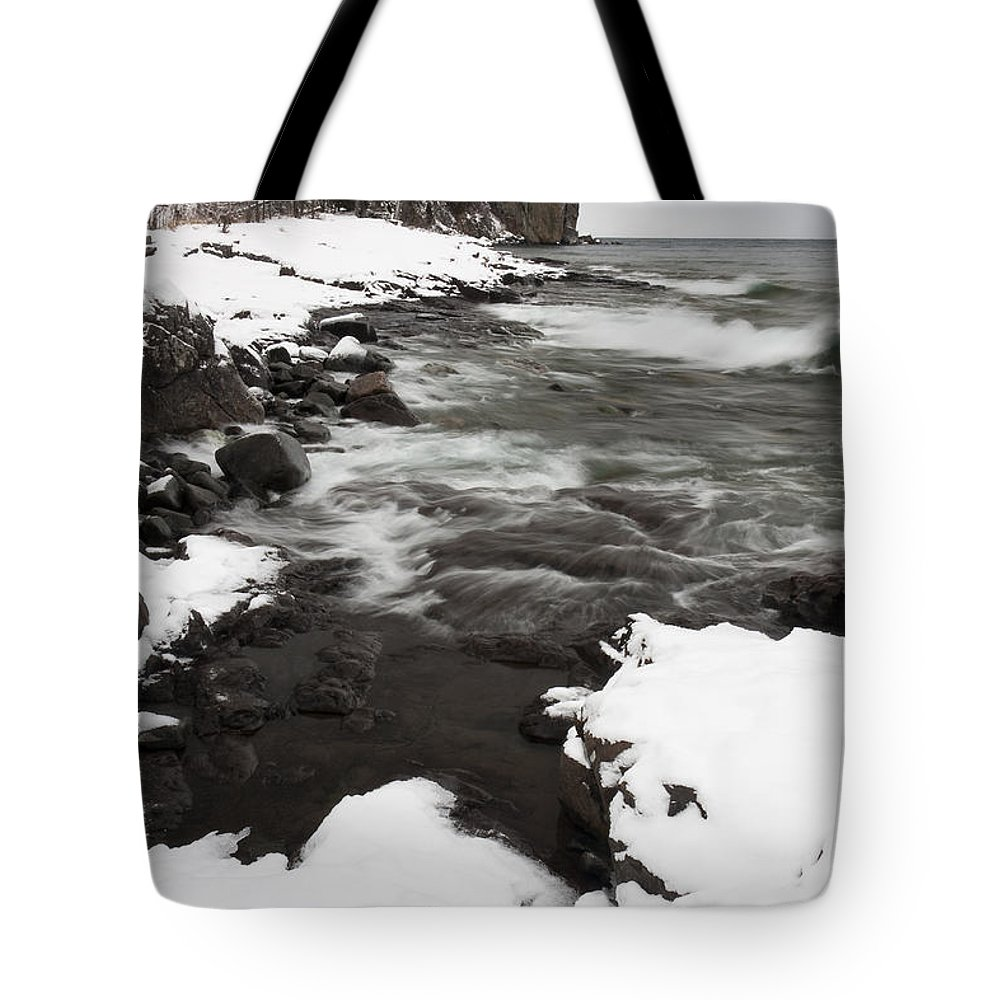 Split Tote Bag featuring the photograph Split Rock Lighthouse Winter 17 by John Brueske