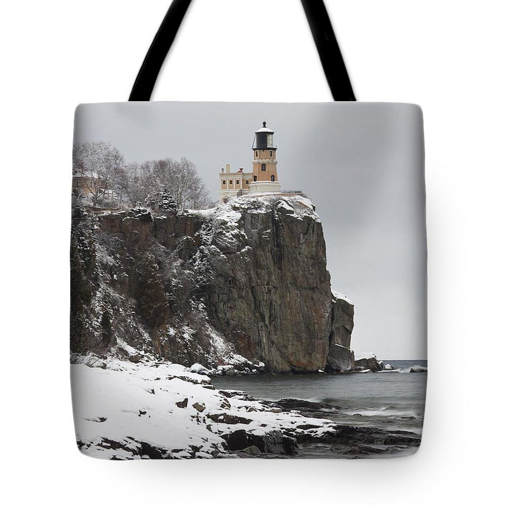 Split Tote Bag featuring the photograph Split Rock Lighthouse Winter 19 by John Brueske