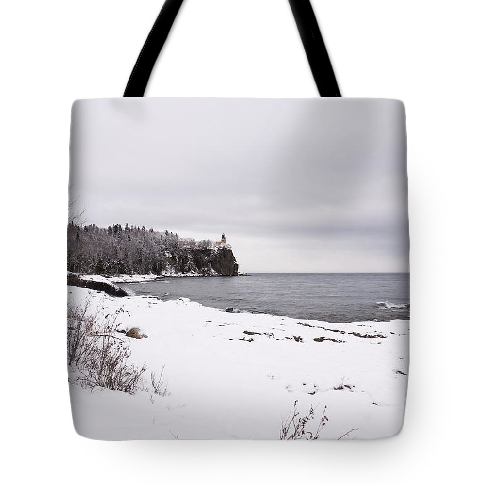 Split Tote Bag featuring the photograph Split Rock Lighthouse Winter 7 by John Brueske