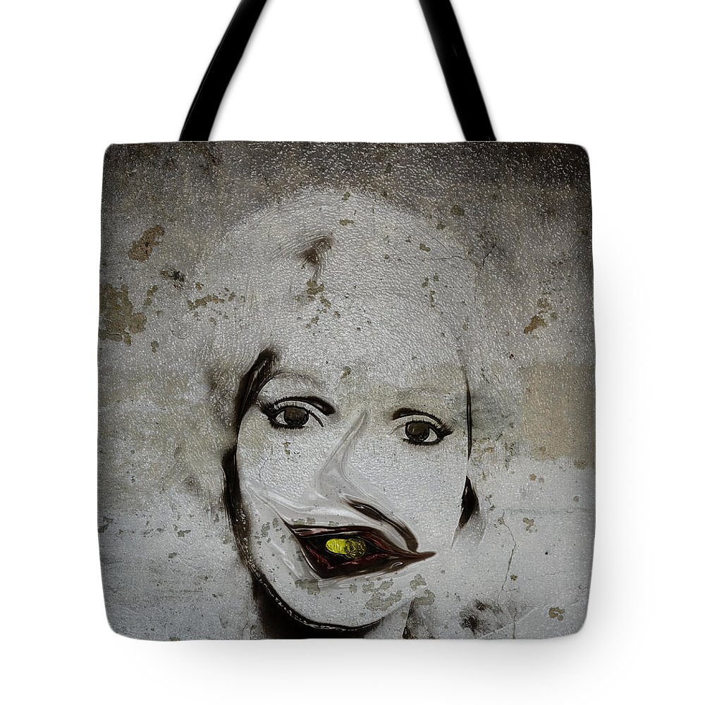 Portrait Tote Bag featuring the digital art Spoiled Portrait In The Wall by Ramon Martinez