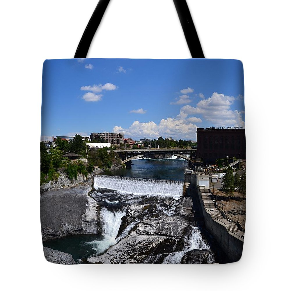 Spokane River Tote Bag featuring the photograph Spokane Falls And Riverfront by Michelle Calkins