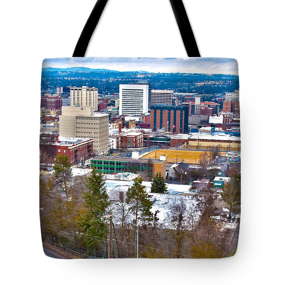 Architecture Tote Bag featuring the photograph Spokane Washington by Alex Grichenko