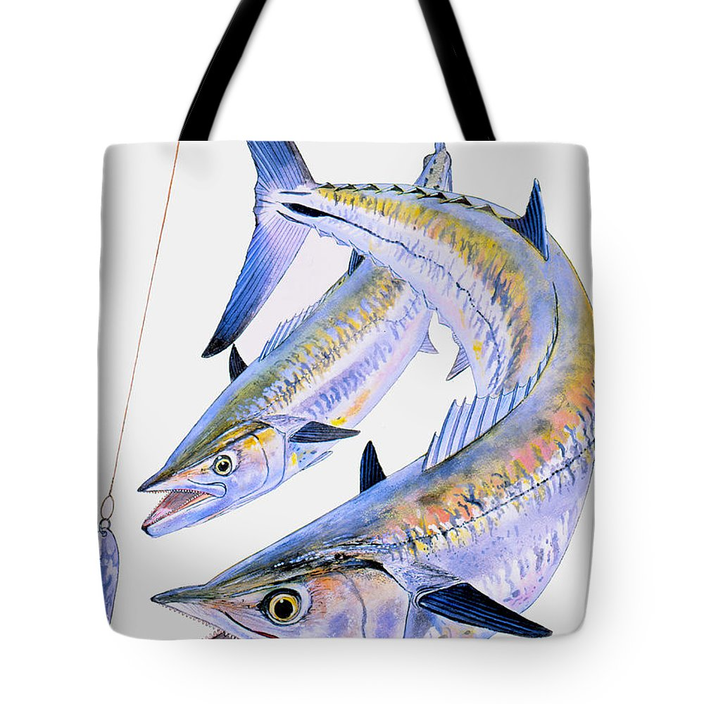 Kingfish Tote Bag featuring the painting Spoon King by Carey Chen