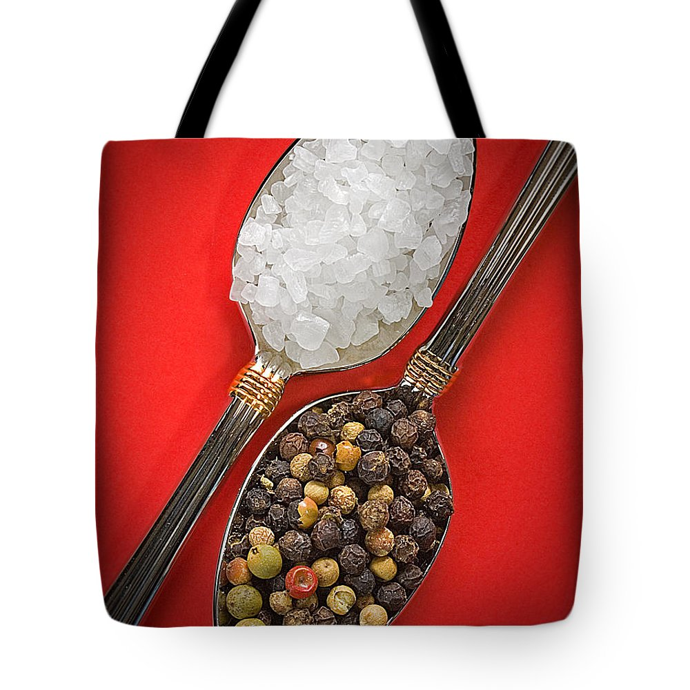 Spoons Tote Bag featuring the photograph Spoonfuls Of Salt And Pepper by Susan Candelario