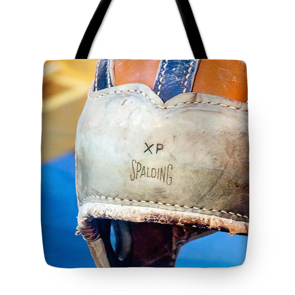 Helmet Tote Bag featuring the photograph Sports - Vintage Football Helmet by Art Block Collections