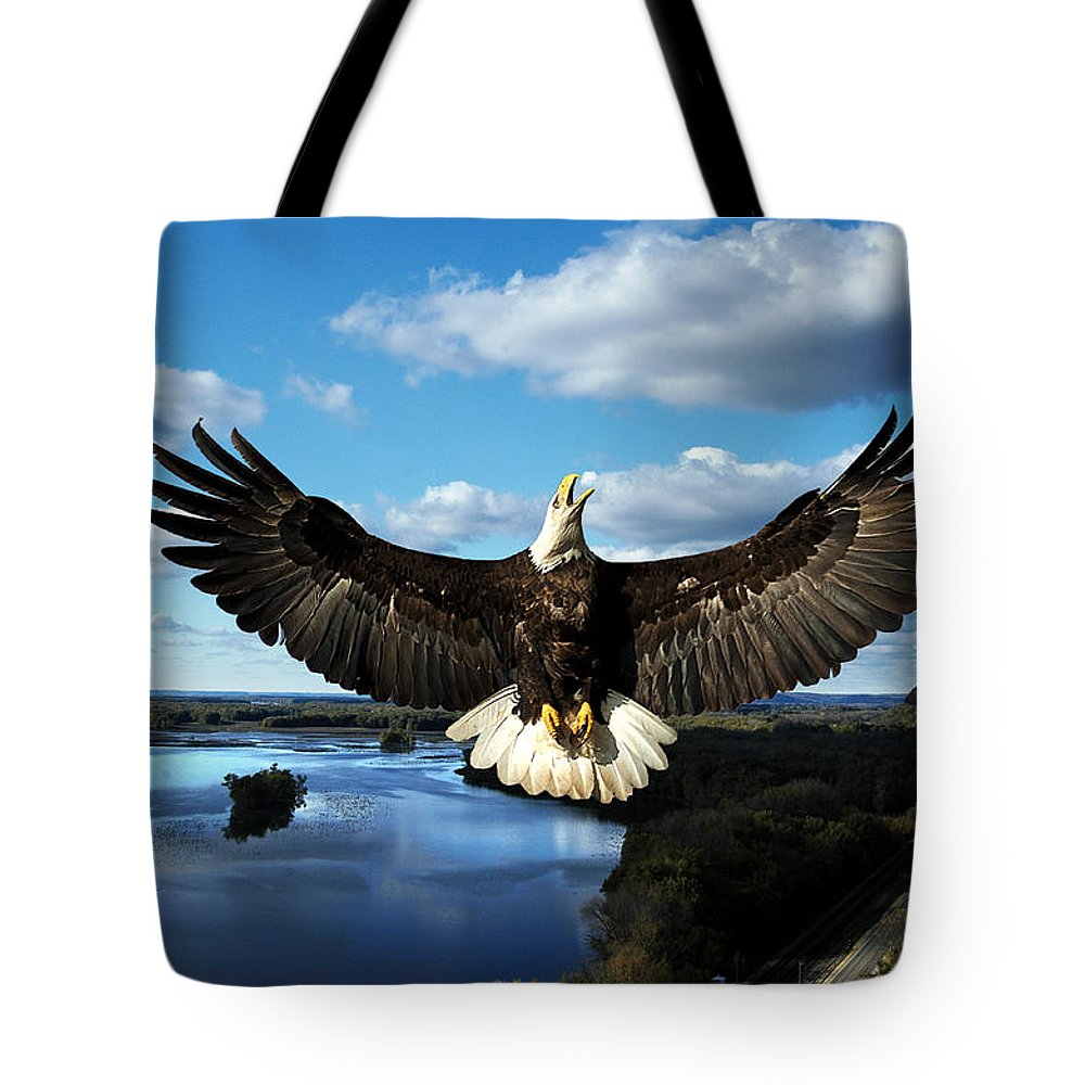 Cliffhanger Tote Bag featuring the photograph Spread Eagle Mississippi River by Randall Branham
