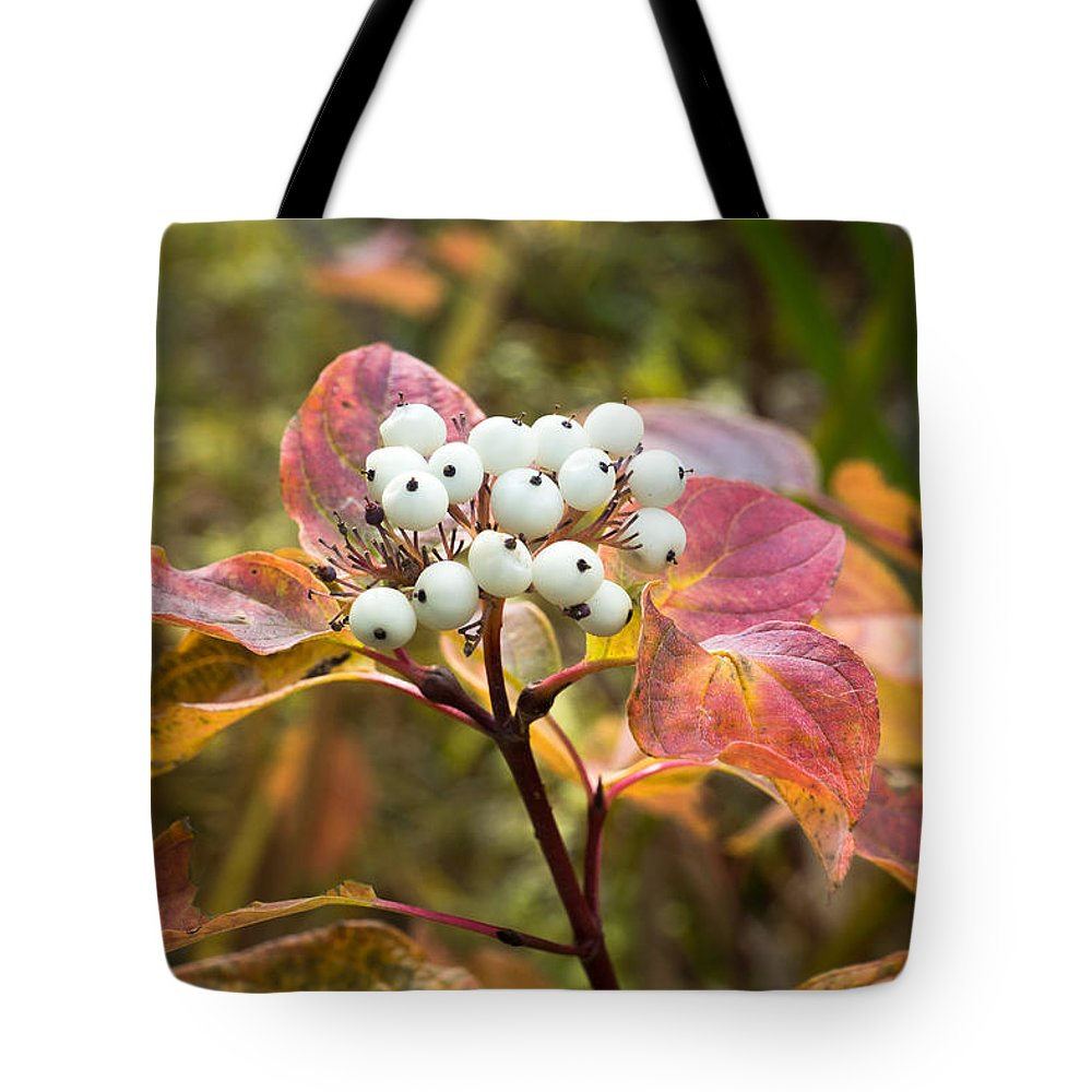 Red Tote Bag featuring the photograph Sprig Of Pearls by Bill Pevlor