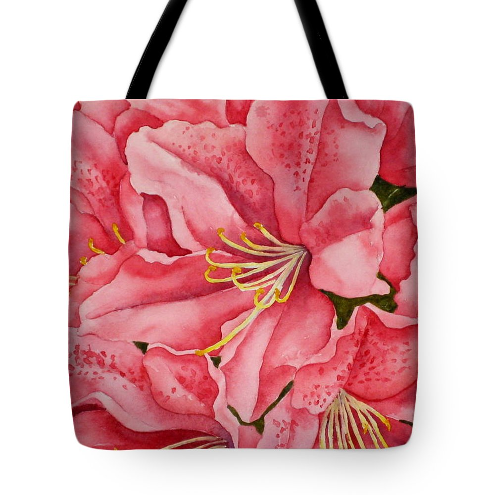 Watercolor Tote Bag featuring the painting Spring Azalea by Darla Brock