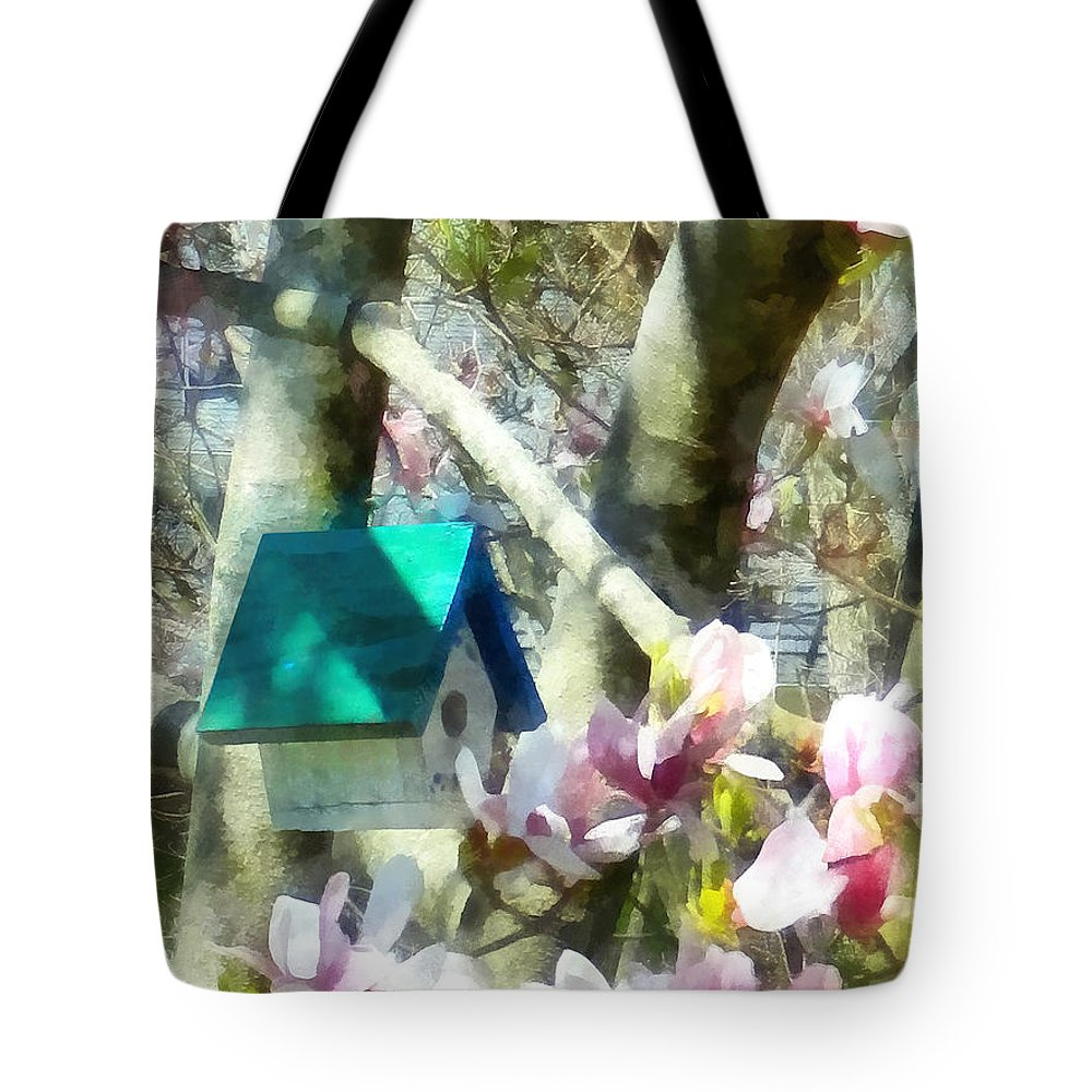 Birdhouse Tote Bag featuring the photograph Spring - Birdhouse In Magnolia by Susan Savad