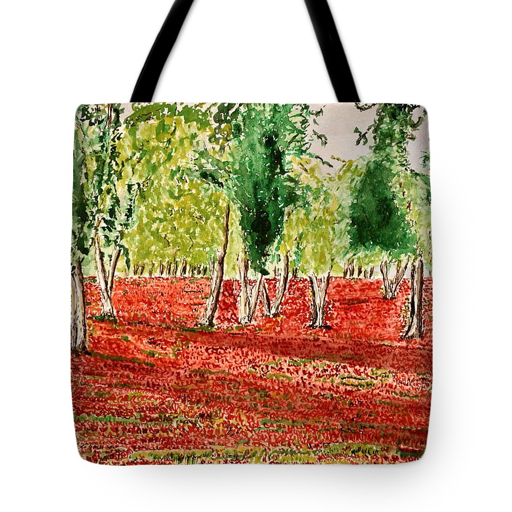 Summer On The Farm Paintings Tote Bag featuring the painting Spring Blooming. by Shlomo Zangilevitch