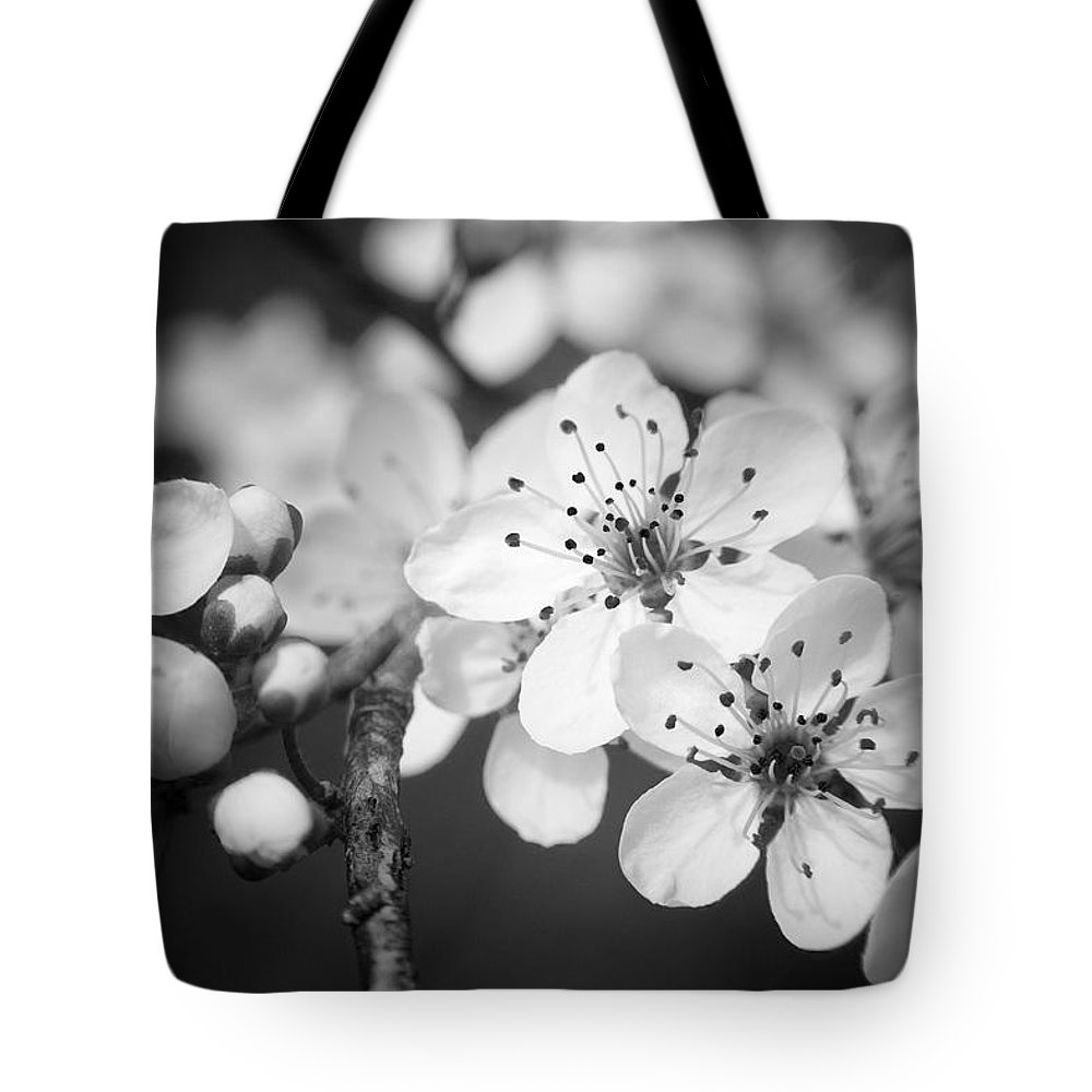 B&w Tote Bag featuring the photograph Spring Blooms 6690 by Timothy Bischoff