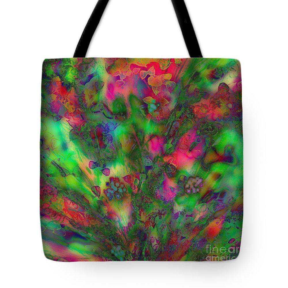 Spring Tote Bag featuring the digital art Spring Bush by Klara Acel