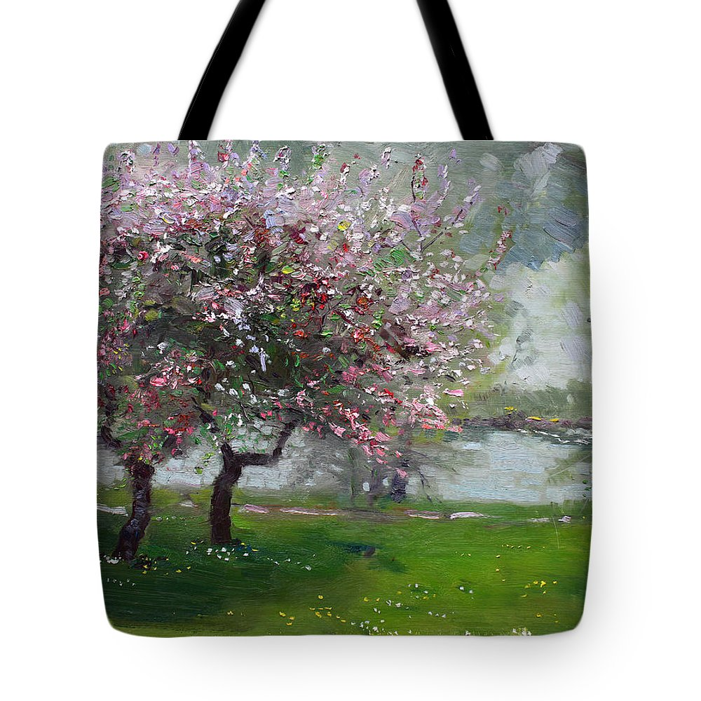 Spring Tote Bag featuring the painting Spring By The River by Ylli Haruni