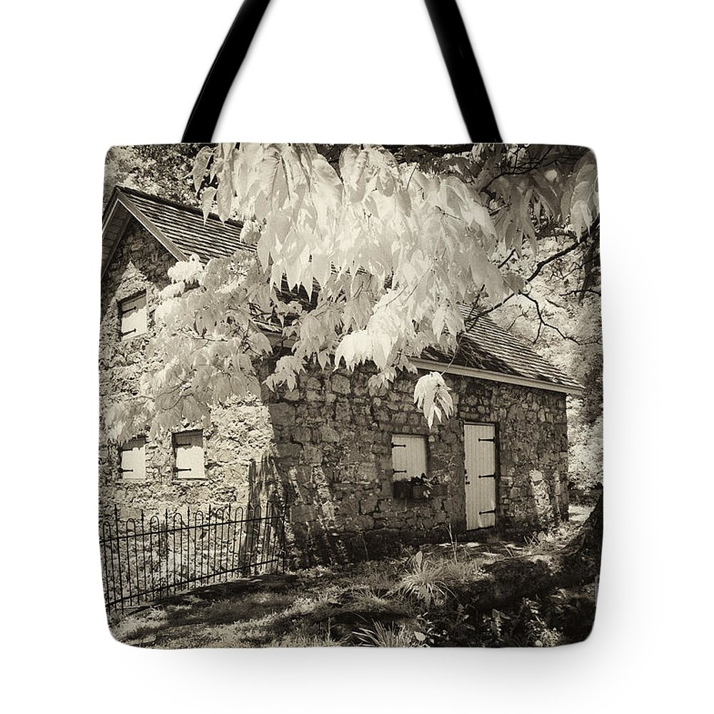Infrared Tote Bag featuring the photograph Spring Creek Mill by Paul W Faust - Impressions of Light