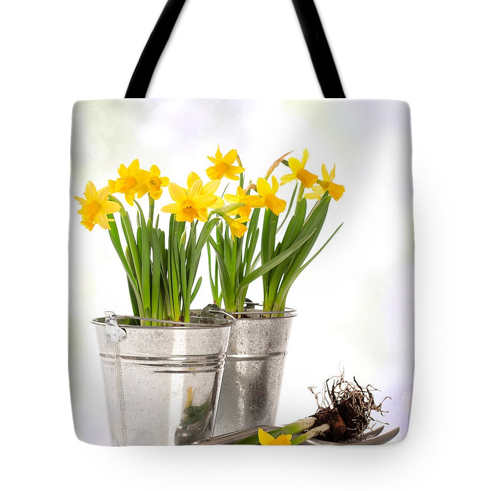 Spring Tote Bag featuring the photograph Spring Daffodils by Amanda Elwell