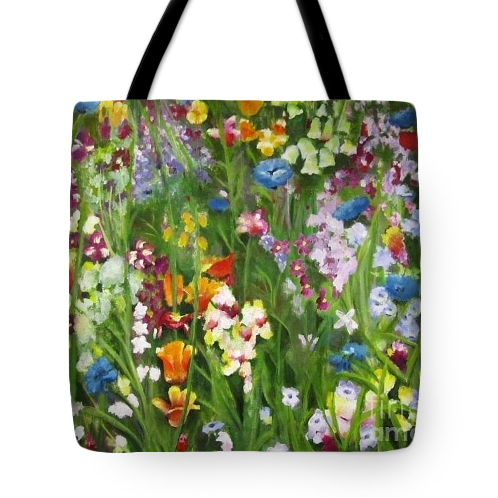 Landscape Tote Bag featuring the painting Spring Explosion by Debra Wronzberg