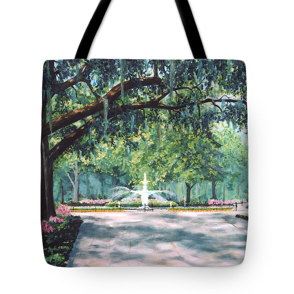 Savannah Tote Bag featuring the painting Spring In Forsythe Park by Stanton Allaben