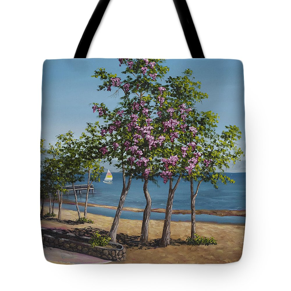Landscape Tote Bag featuring the painting Spring In Kings Beach Lake Tahoe by Darice Machel McGuire