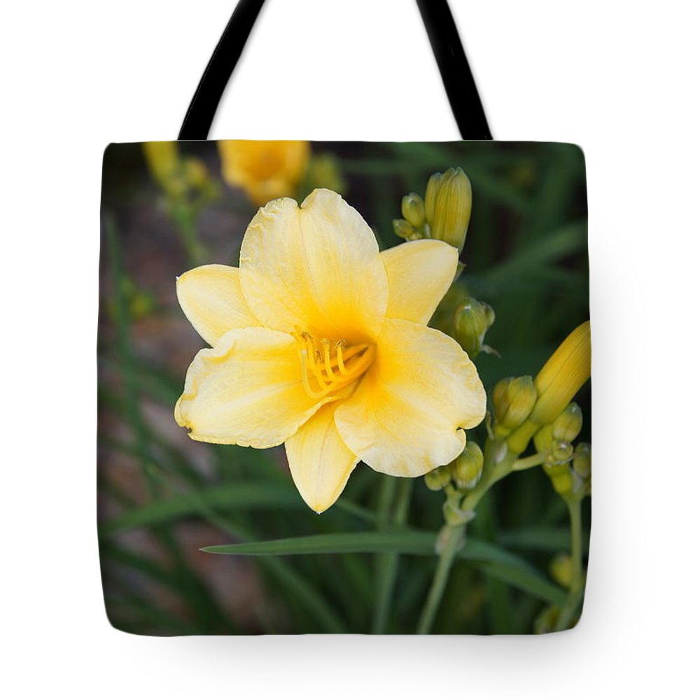 Yellow Lilly Tote Bag featuring the photograph Spring by Megan Cohen