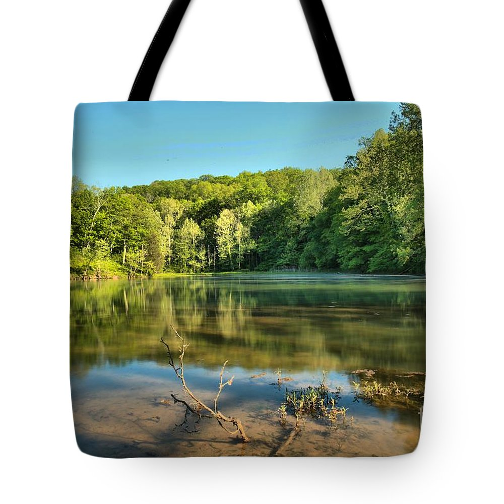 Spring Mill Lake Tote Bag featuring the photograph Spring Mill Lake by Adam Jewell