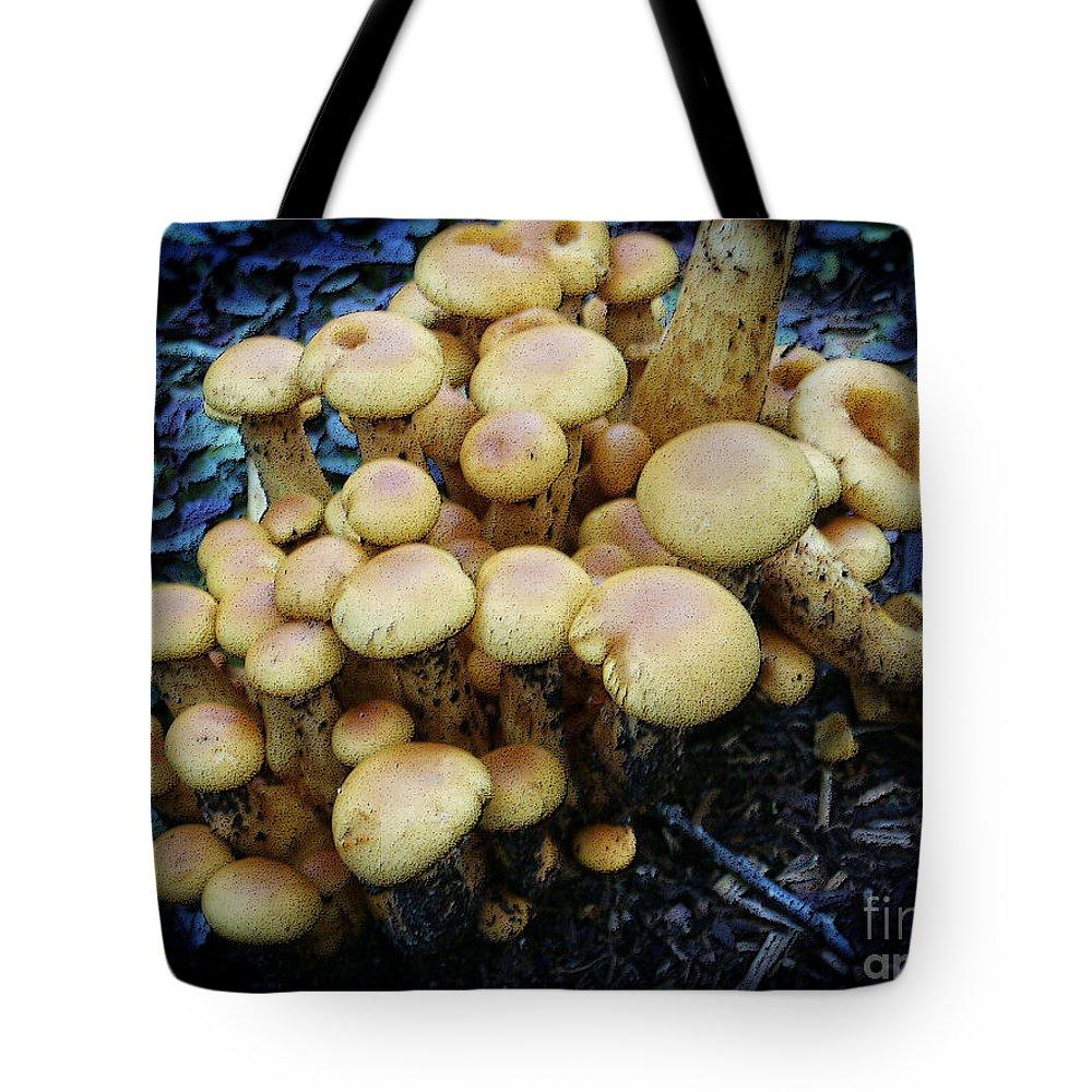 Mushroom Tote Bag featuring the digital art Spring Mushrooms by Dee Flouton