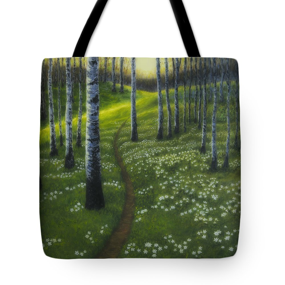 Art Tote Bag featuring the painting Spring Path by Veikko Suikkanen