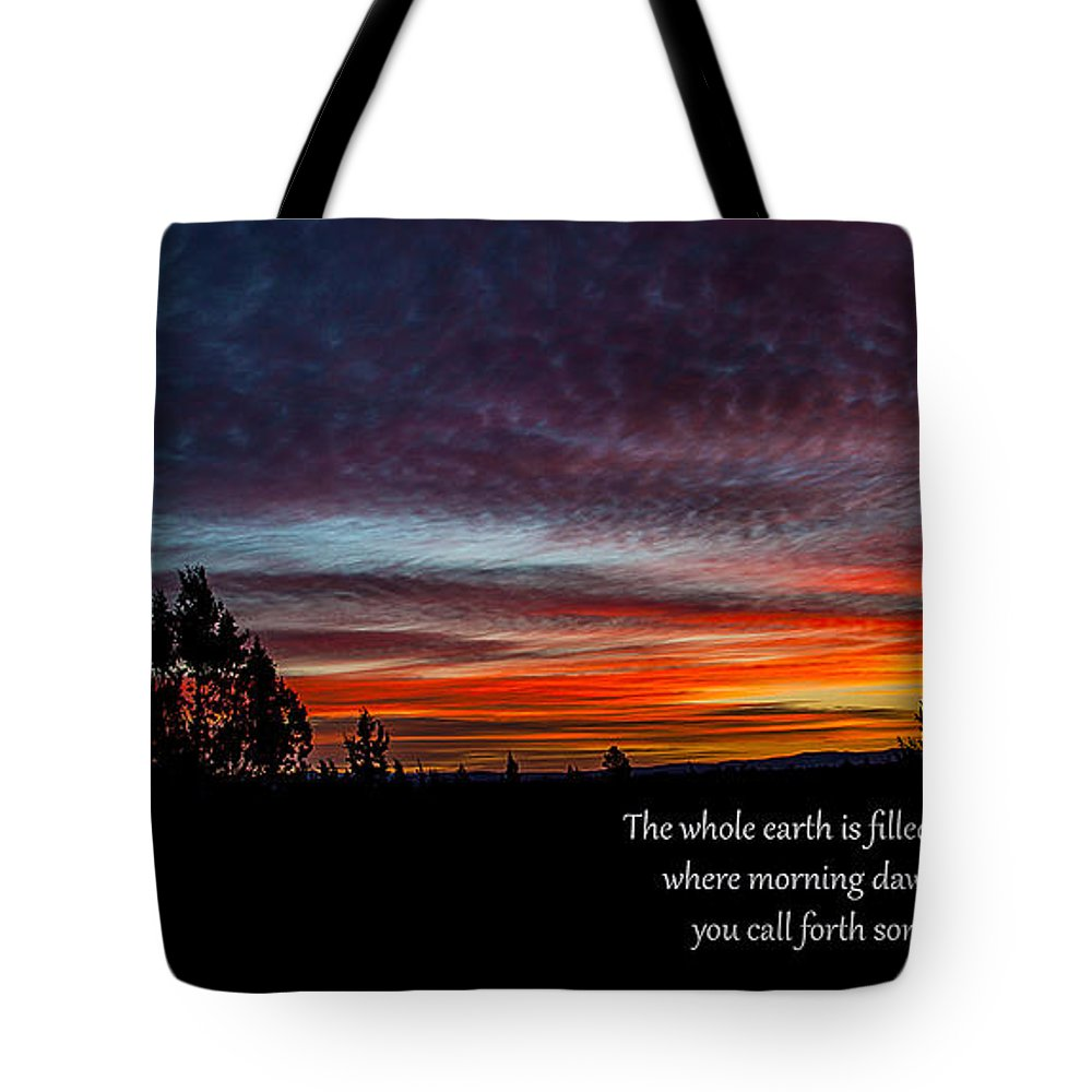 Sunrise Tote Bag featuring the photograph Spring Peaceful Morning Sunrise Bible Verse Photography by Jerry Cowart