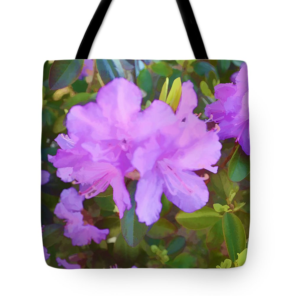 Spring Pink Azalea Tote Bag featuring the digital art Spring Pink Azalea by Luther Fine Art