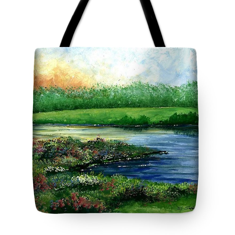 Spring Pond Tote Bag featuring the painting Spring Pond by Steven Schultz