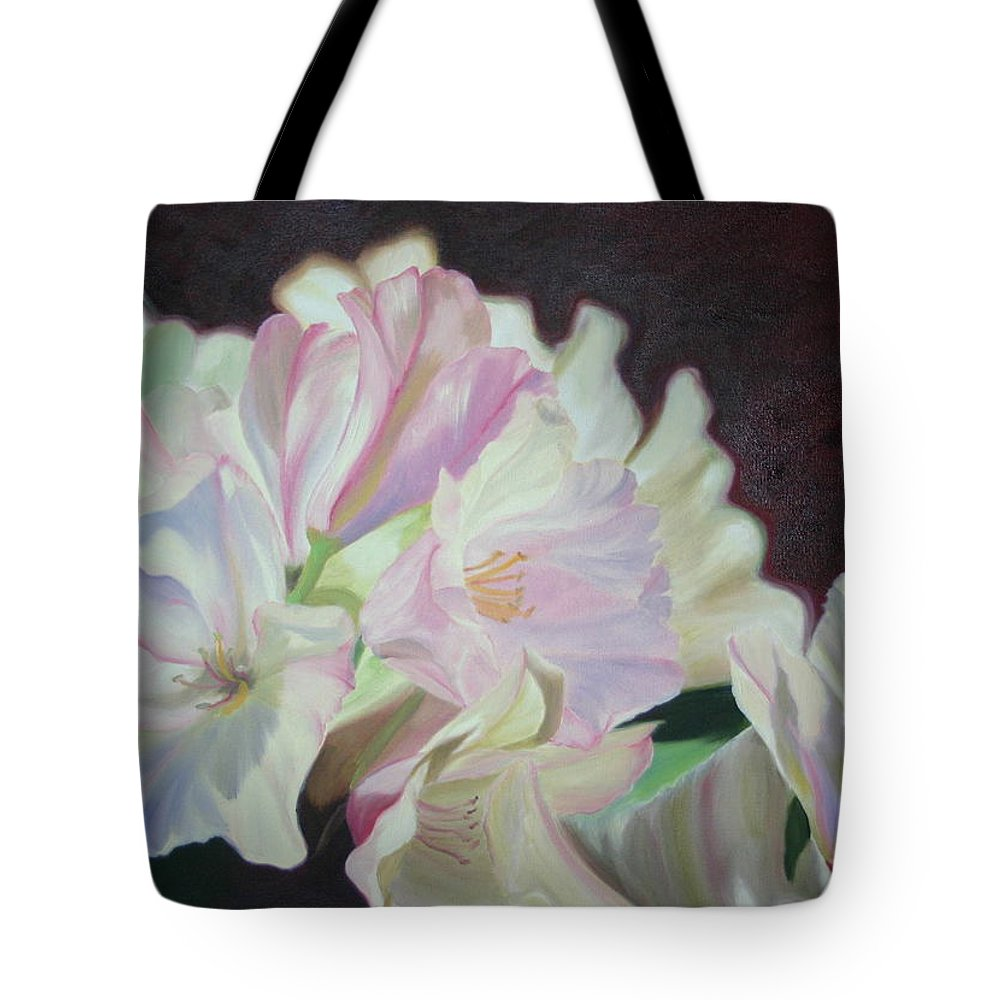 Flower Tote Bag featuring the painting Spring Rhodys by Nancy Jolley