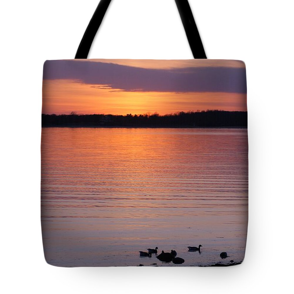 Beach Tote Bag featuring the photograph Spring Sunset by Karen Silvestri