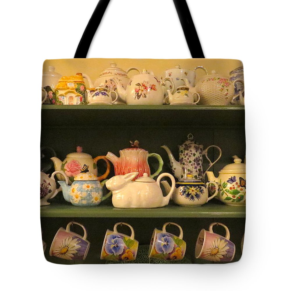 Teapots Tote Bag featuring the photograph Spring Teapots by Nancy Patterson