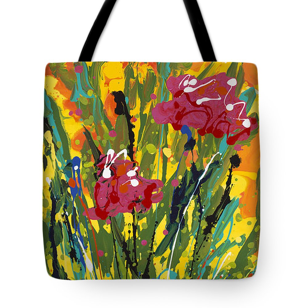 Spring Tote Bag featuring the painting Spring Tulips Triptych Panel 3 by Nadine Rippelmeyer