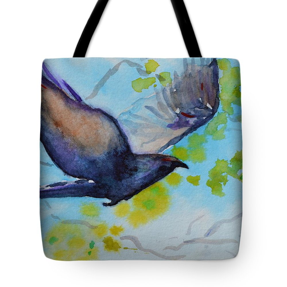 Crow Tote Bag featuring the painting Spring Wings by Beverley Harper Tinsley