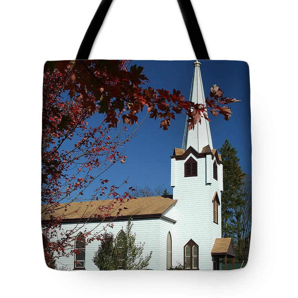 White Church Tote Bag featuring the photograph Springboro Rc Church by Jim Cotton