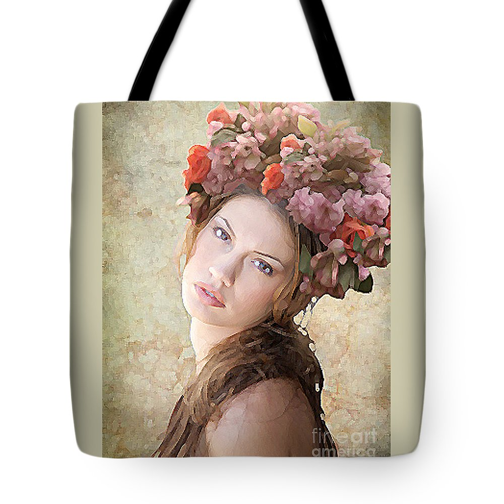 Flowers. Floral Tote Bag featuring the digital art Spring's Crowning Glory by Maureen Tillman