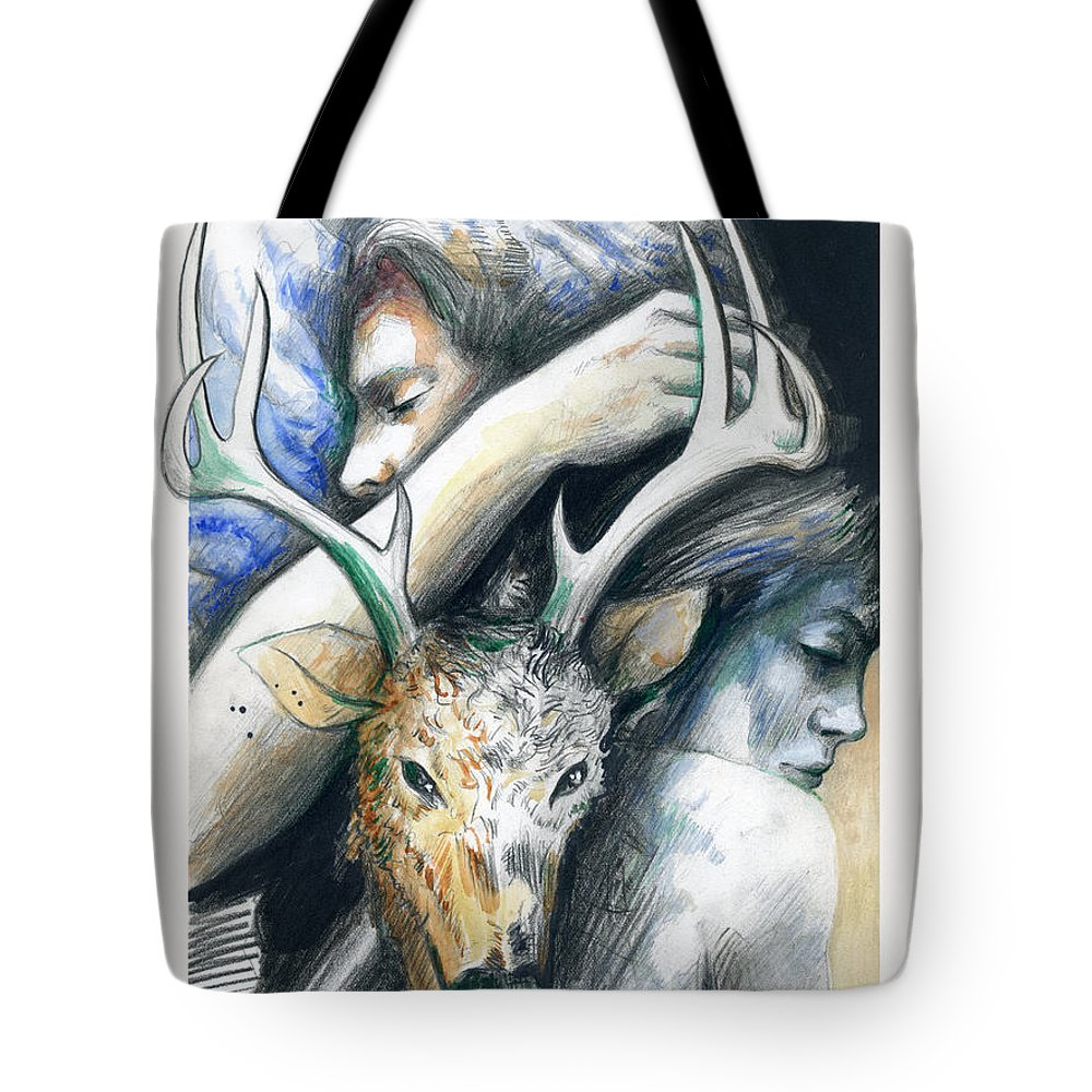 Dear Tote Bag featuring the painting Springs Eternal Love Affair With The Ice Prince by Rene Capone