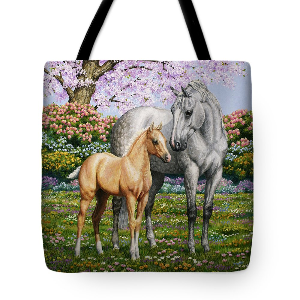 Horse Tote Bag featuring the painting Spring's Gift - Mare And Foal by Crista Forest