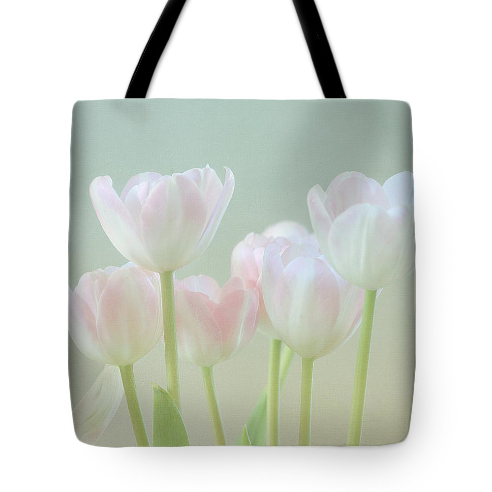 White Flower Tote Bag featuring the photograph Spring's Pastels by Kim Hojnacki