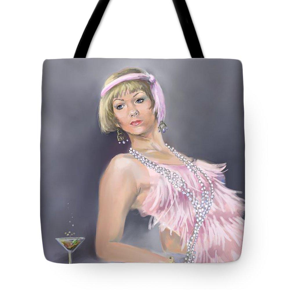 Springtime Flapper Tote Bag featuring the painting Springtime Flapper by Liz Viztes