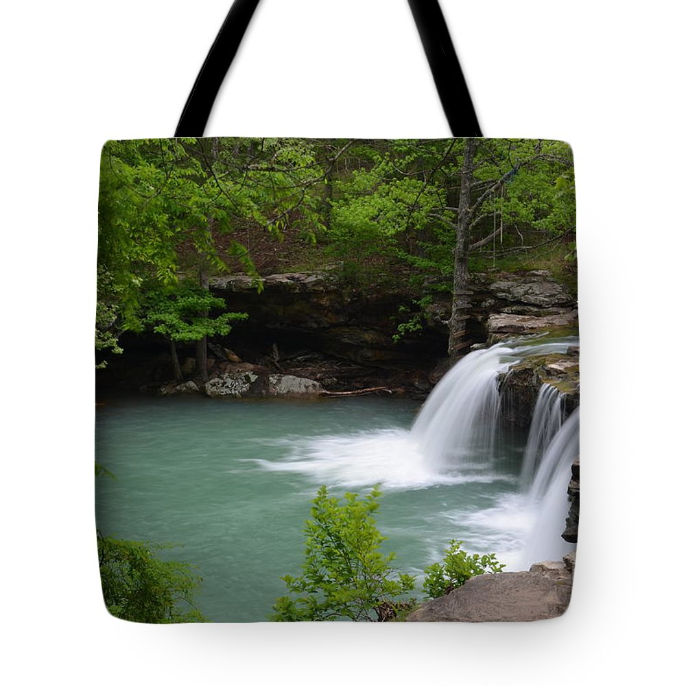 Waterfalls Tote Bag featuring the photograph Springtime Flows by Deanna Cagle