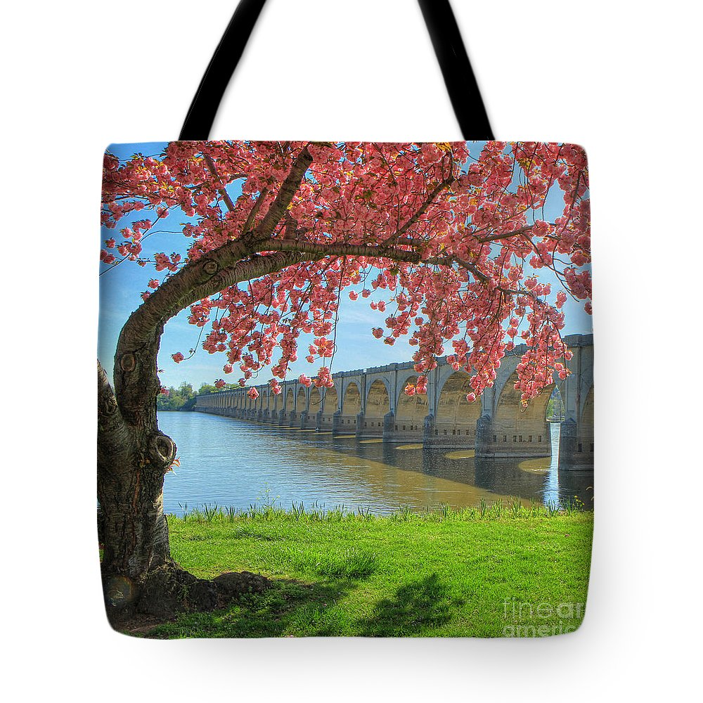 Riverfront Park Tote Bag featuring the photograph Springtime On The River by Geoff Crego