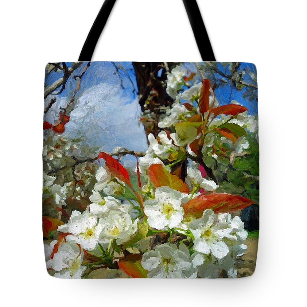 Springtime Pear Blossoms Tote Bag featuring the photograph Springtime Pear Blossoms - Hello Spring by Rebecca Korpita
